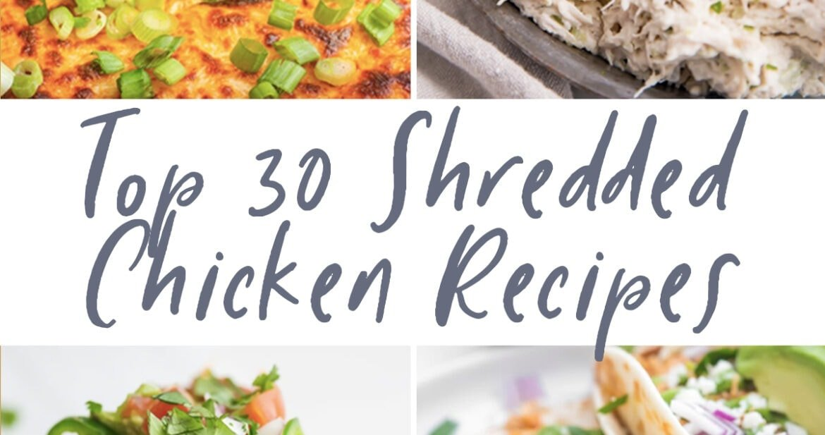 Graphic for top 30 shredded chicken recipes