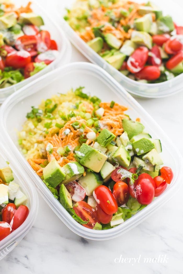 Whole30 buffalo ranch chicken meal prep with veggies