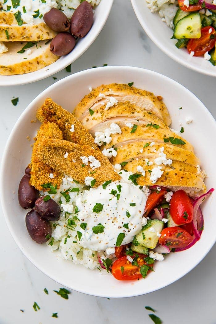 Loaded Greek chicken grain bowl recipe