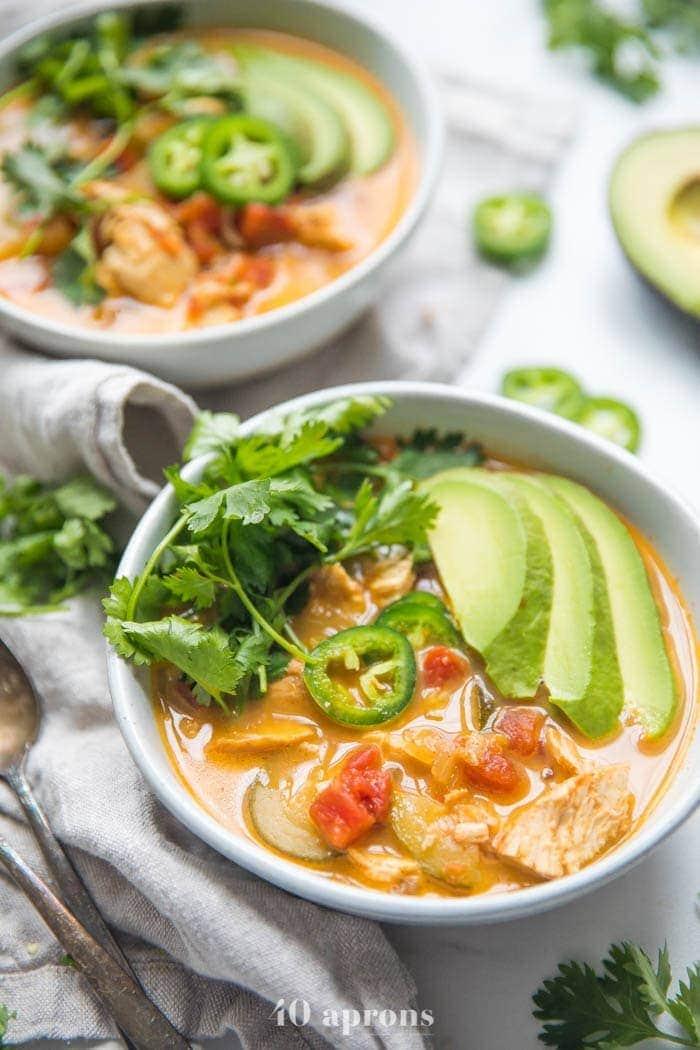 Shredded chicken tortilla-less soup