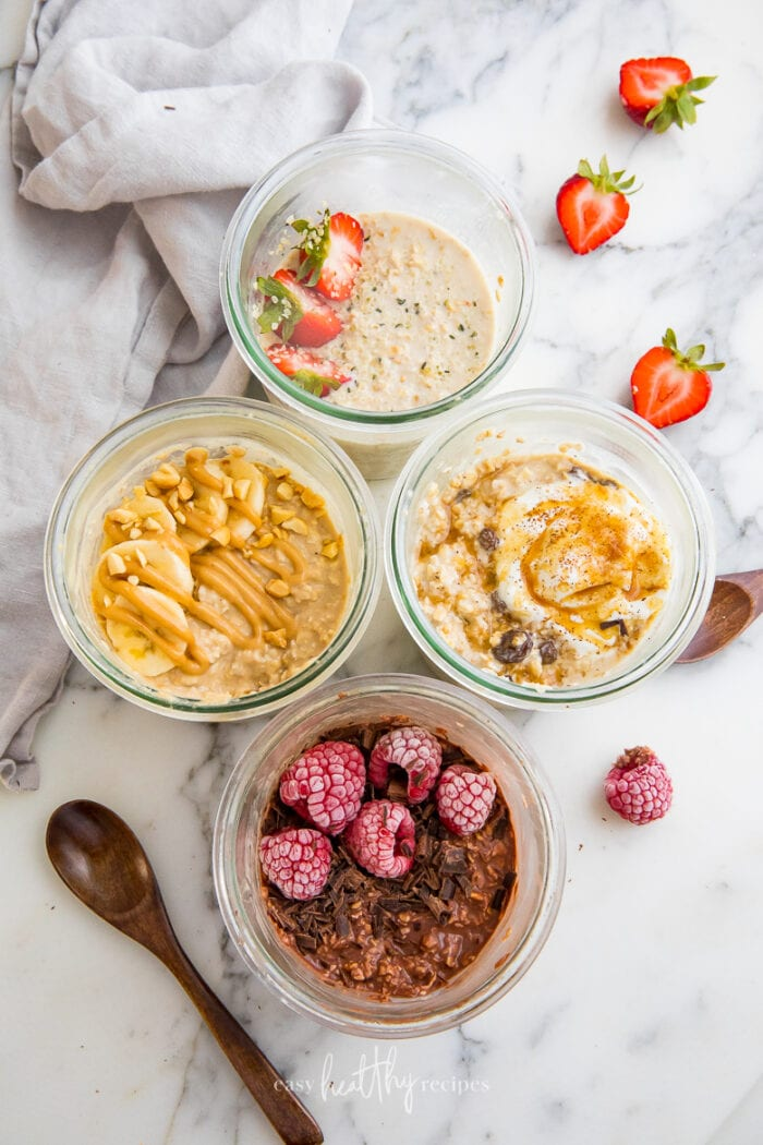 4 different kinds of oatmeal bowls
