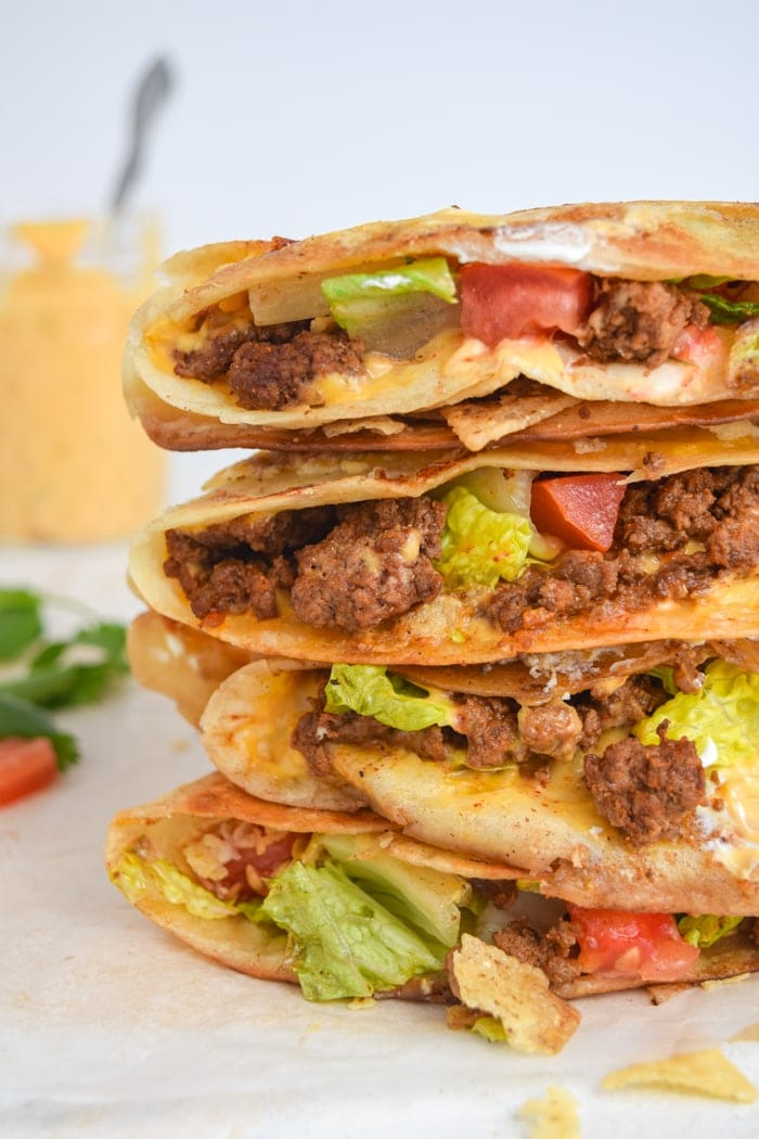 Stack of crunchwraps cooked after using the Mexican tortilla wrap hack