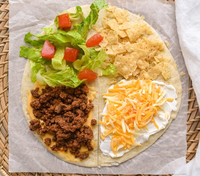 Step one of the Mexican tortilla wrap hack process