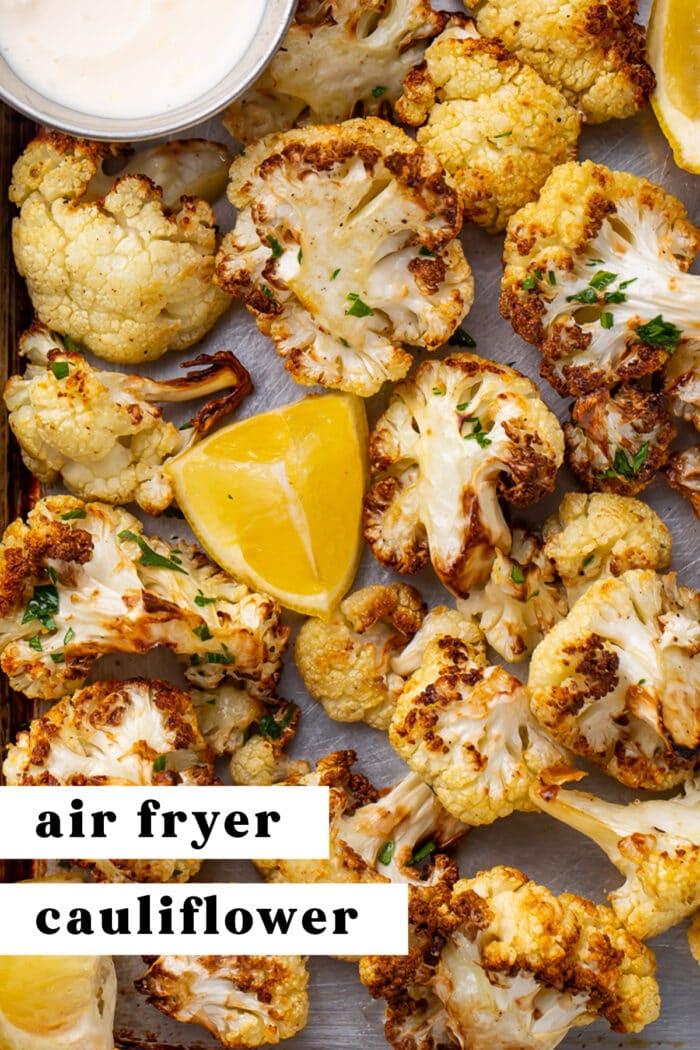 Pinterest graphic for air fryer cauliflower