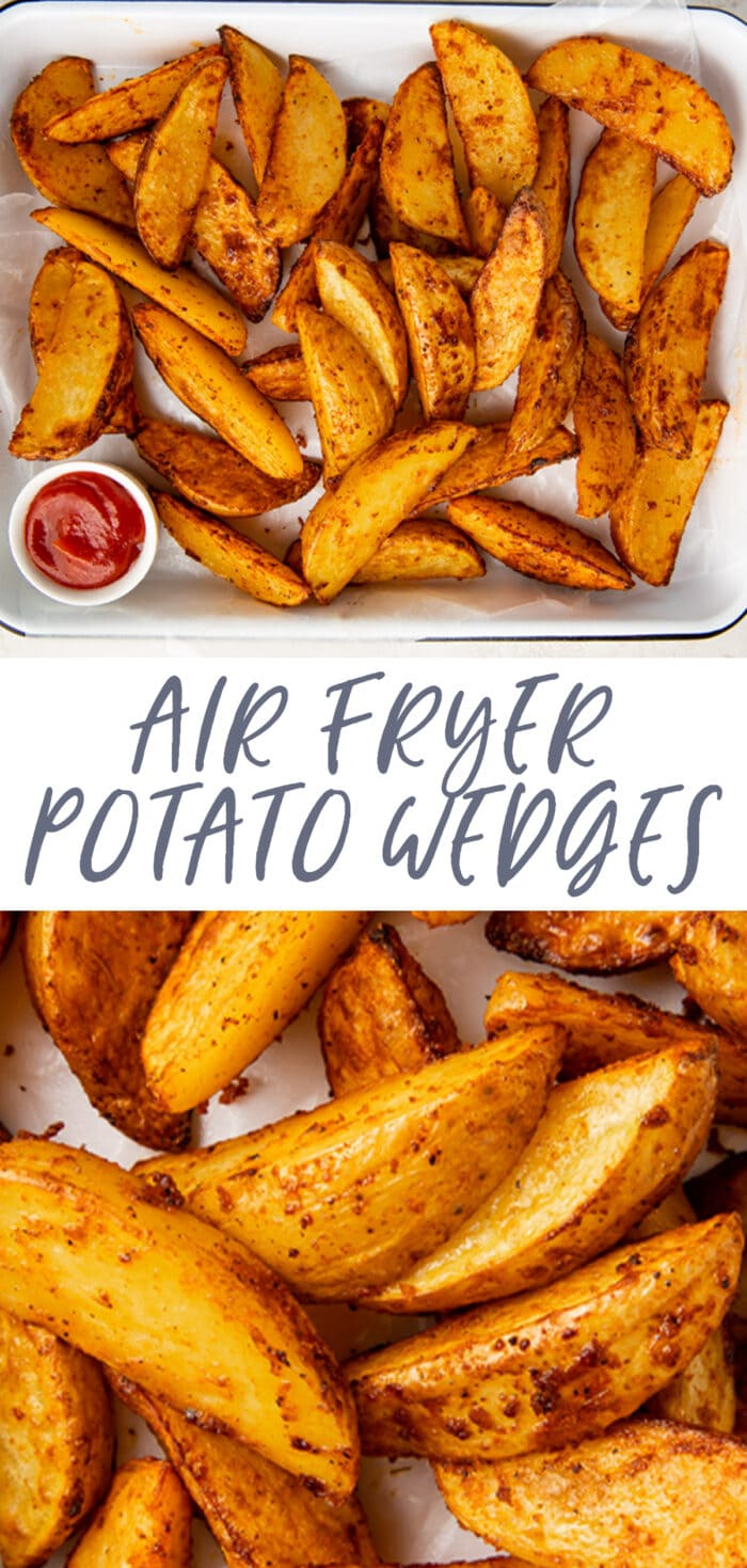 Pin graphic for air fryer potato wedges