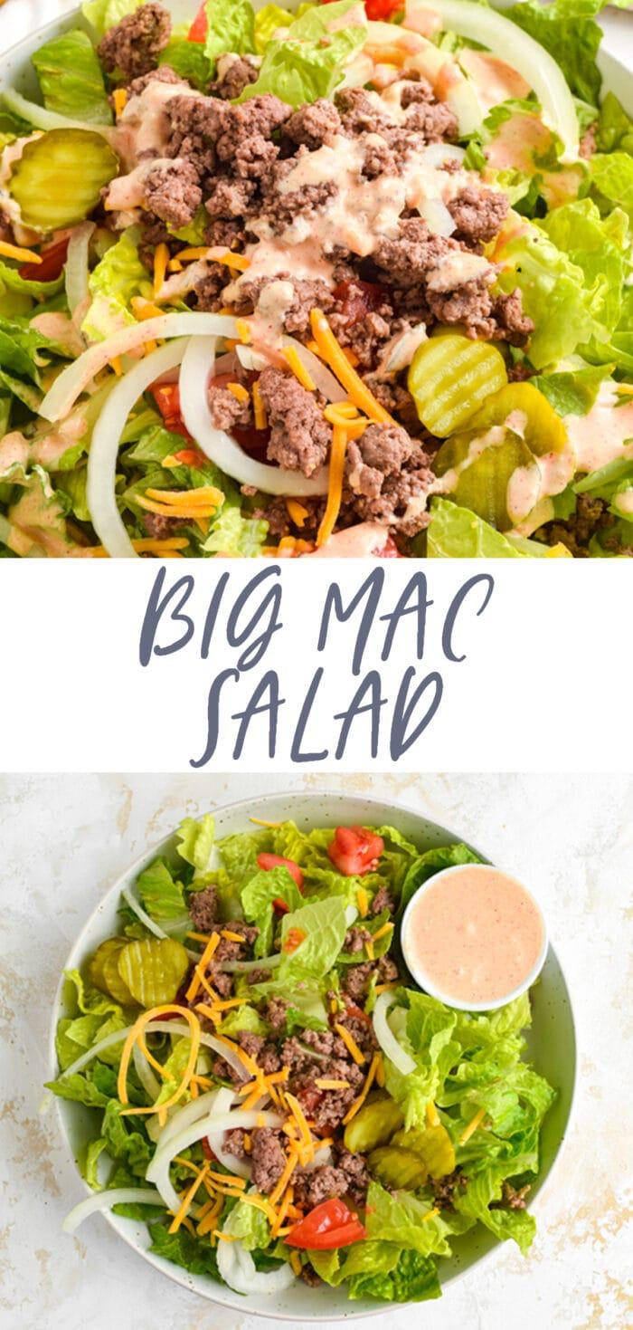 Pin graphic for big mac salad