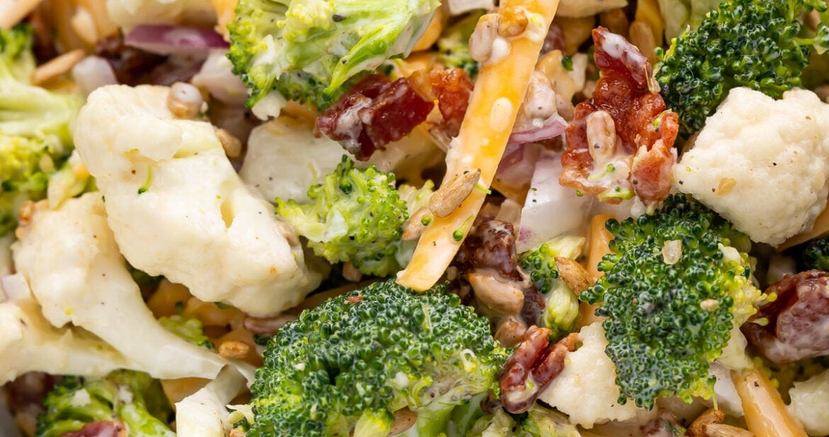 Close up of broccoli cauliflower salad