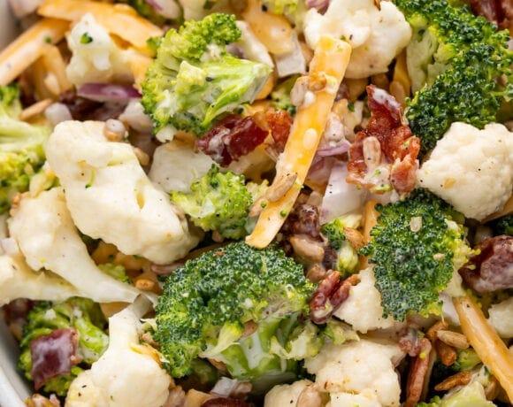 Close up of broccoli cauliflower salad