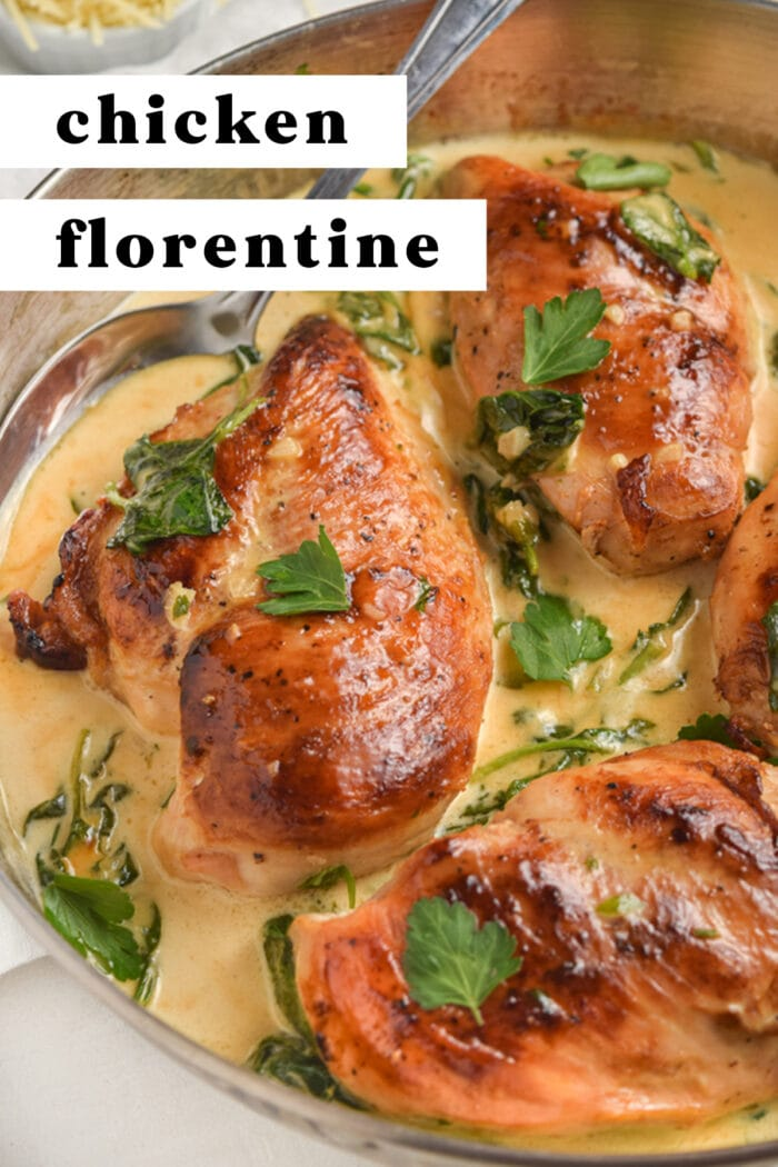Pin graphic for chicken florentine