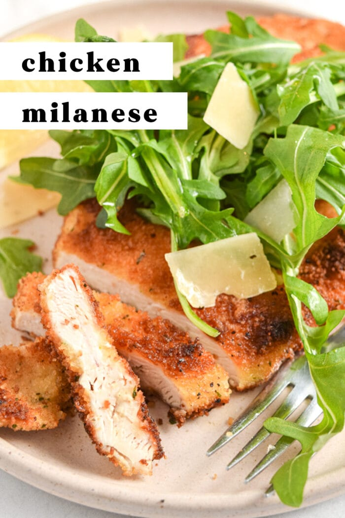 Pinterest graphic for chicken milanese