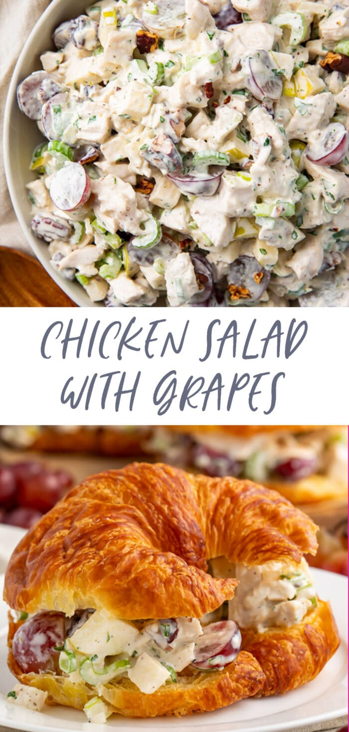 Pin graphic for chicken salad with grapes