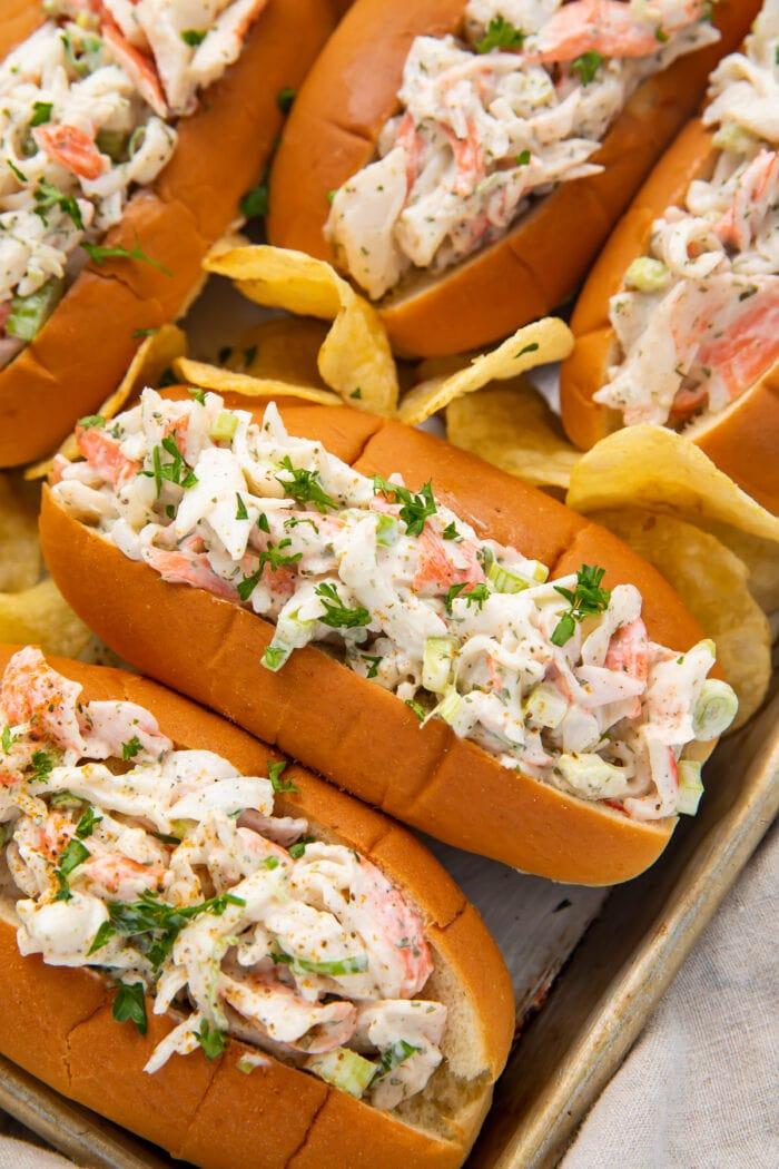 Crab salad in buns on a sheet pan