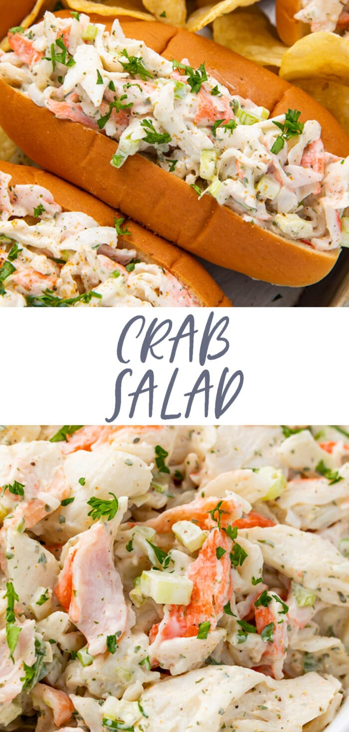Pin graphic for crab salad