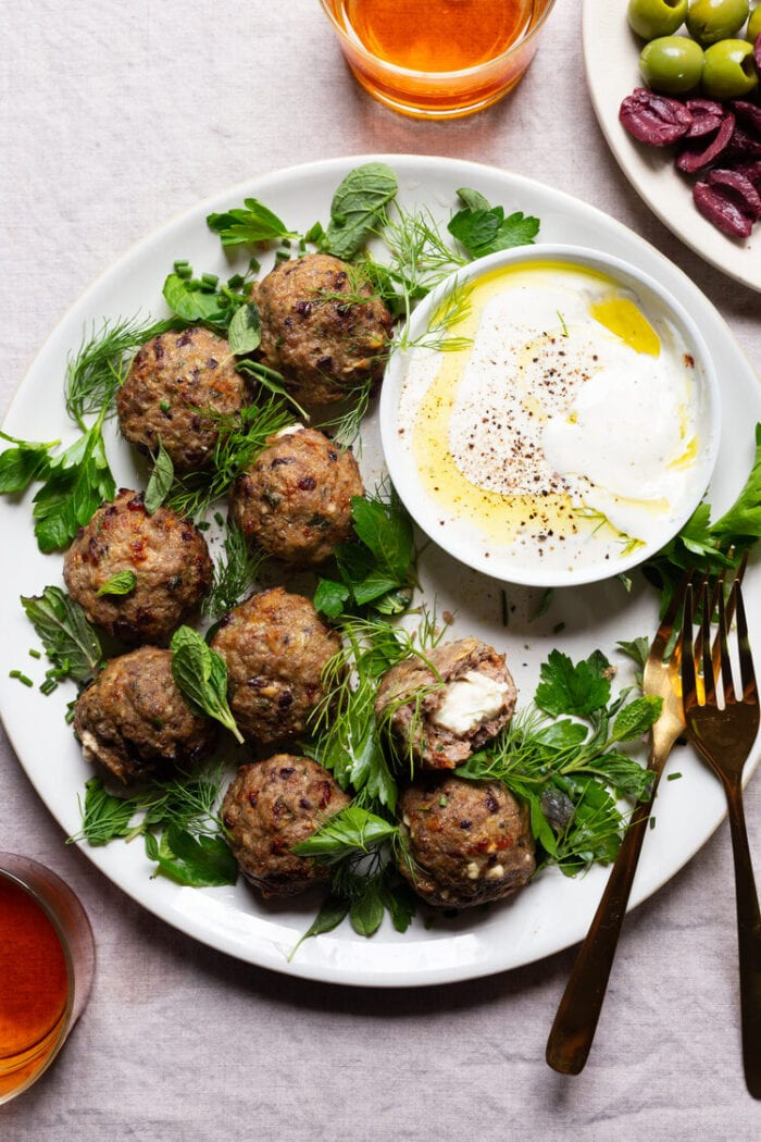 Feta stuffed lamb meatballs from The Daley Plate