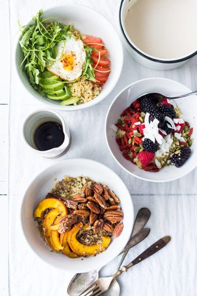 3 different kinds of morning grain bowls