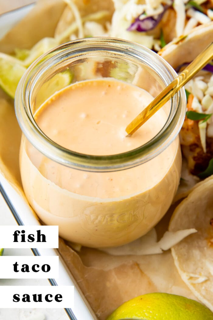 Pinterest graphic for fish taco sauce