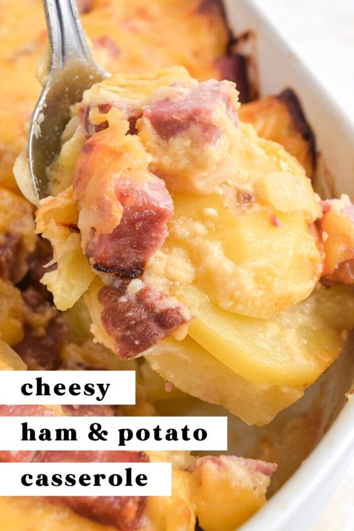 Pinterest graphic for cheesy ham and potato casserole