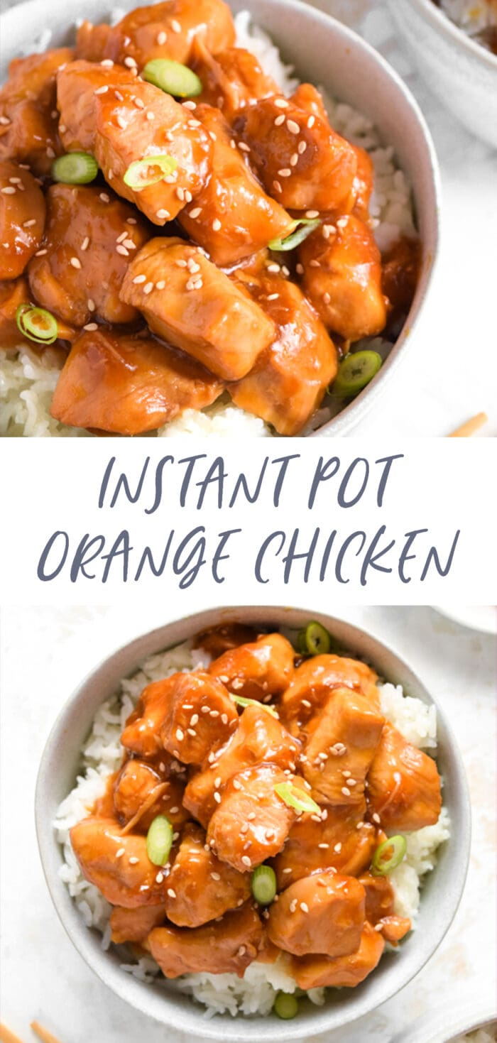Pin graphic for Instant Pot orange chicken