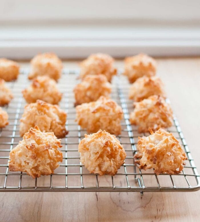 Coconut macaroons on a wire cooling rack