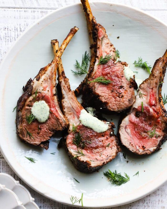 Za'atar + sumac rack of lamb with herb yogurt sauce from Lindsey Eats LA