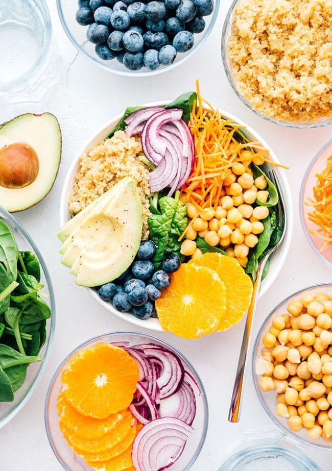 Vibrant Buddha bowl with red onion, chickpeas, grains, avocado, and blueberries
