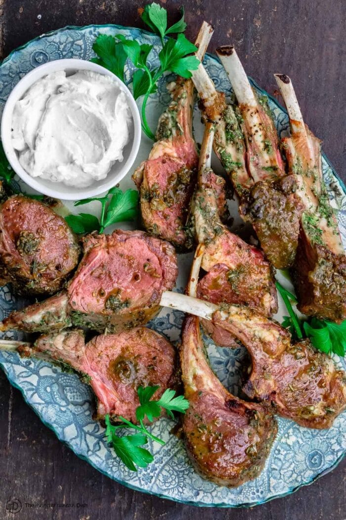 Roast Rack of Lamb Recipe with Garlic and Herb Crust from The Mediterranean Dish
