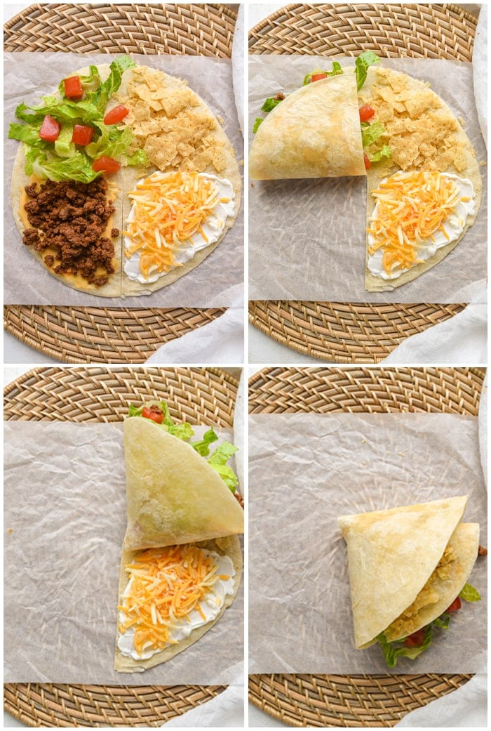 Mexican tortilla wrap hack process graphic