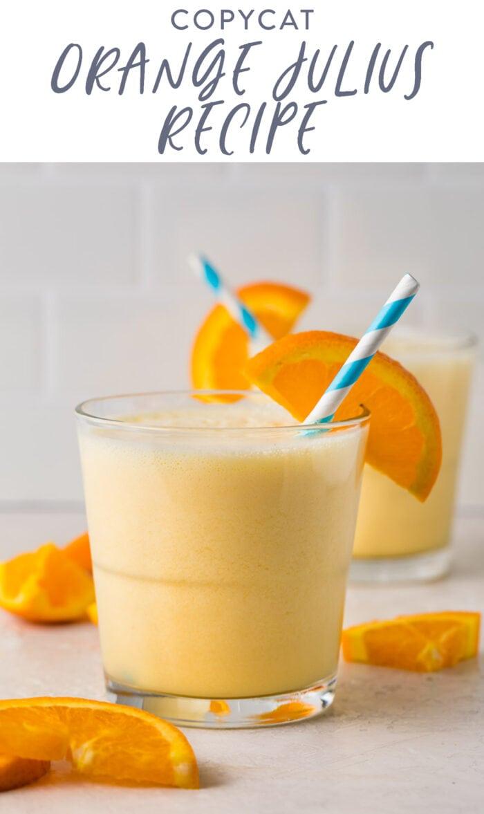 Pinterest graphic for Orange Julius recipe