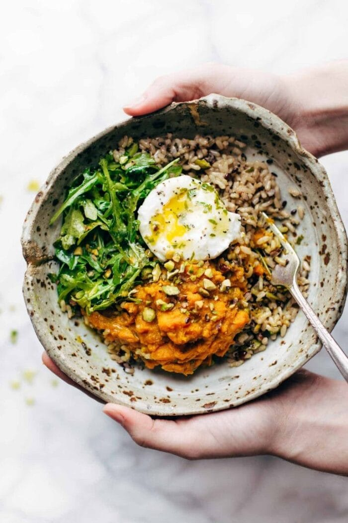 Healing grain bowl with a fried egg