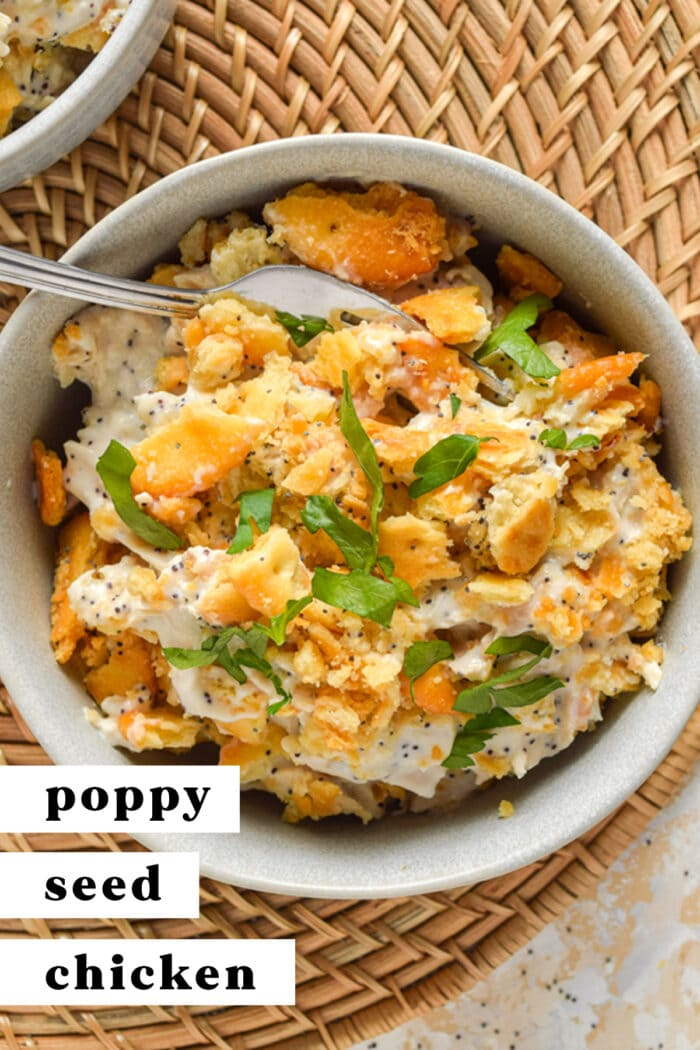 Pinterest graphic for poppy seed chicken