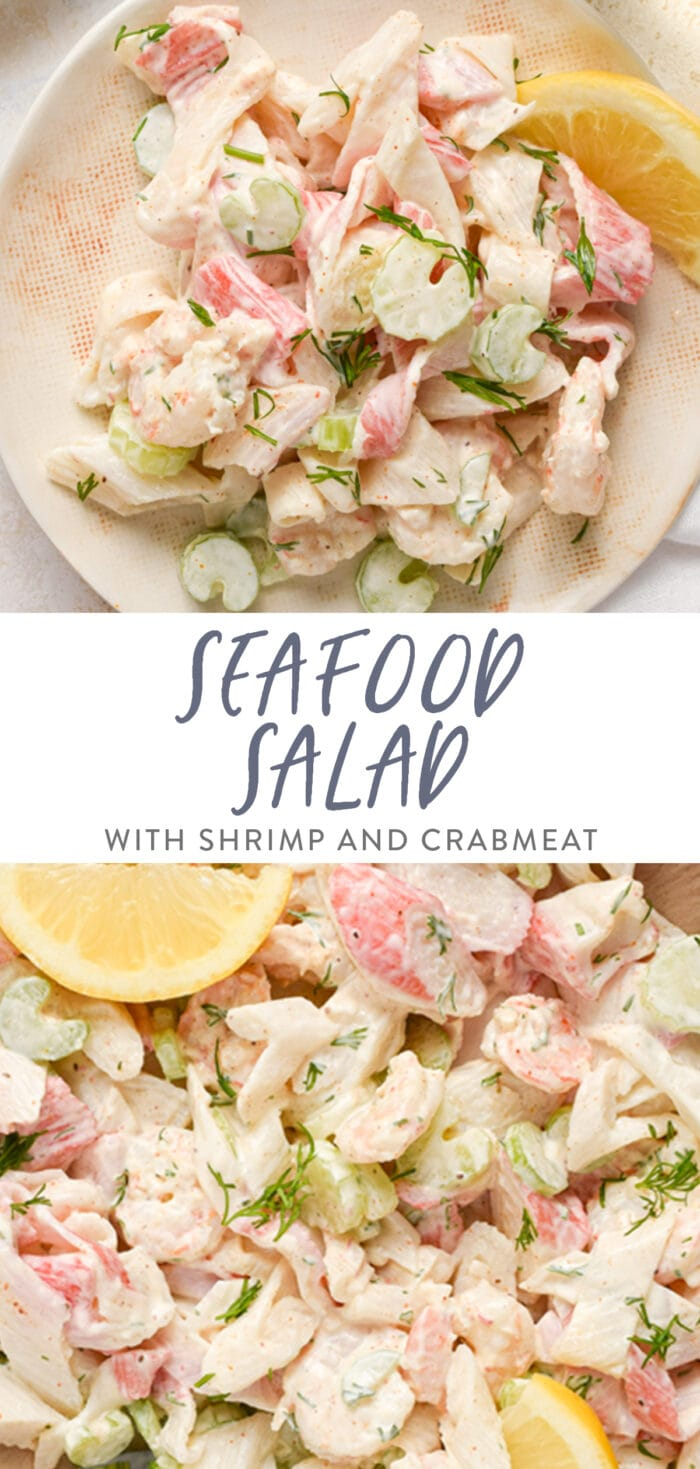 Pinterest graphic for seafood salad