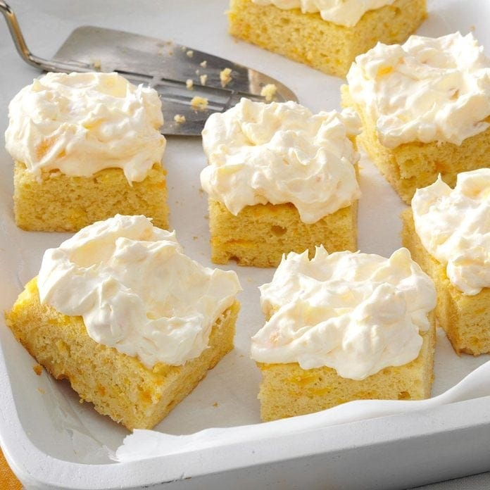 Pineapple orange cake cut into squares