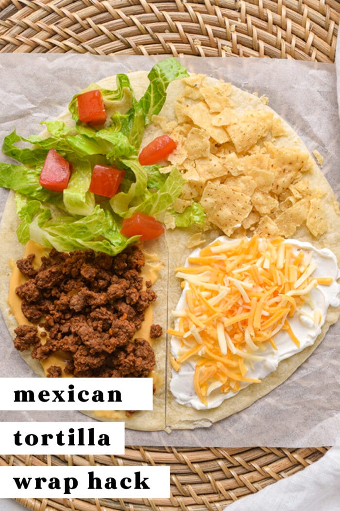 Pinterest graphic for Mexican tortilla wrap hack (TikTok tortilla hack)
