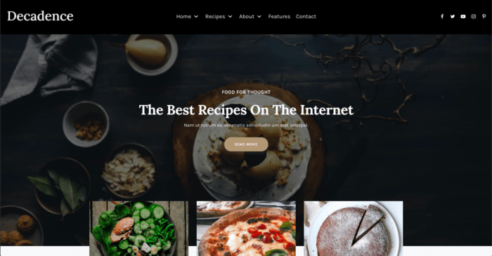 Decadence food blog theme from CakePOP