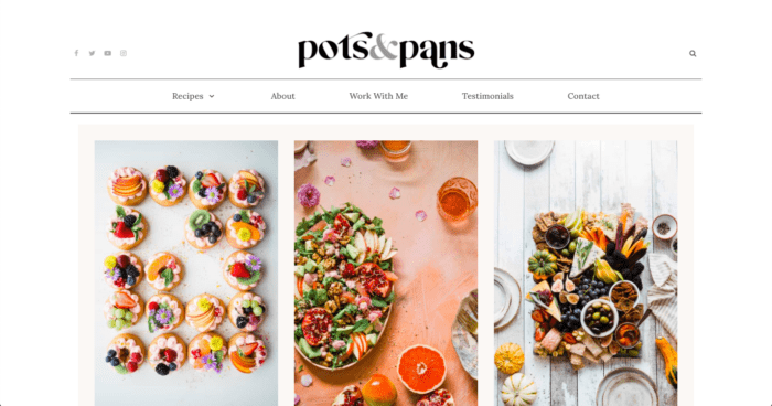 Pots & Pans food blog theme from CakePOP