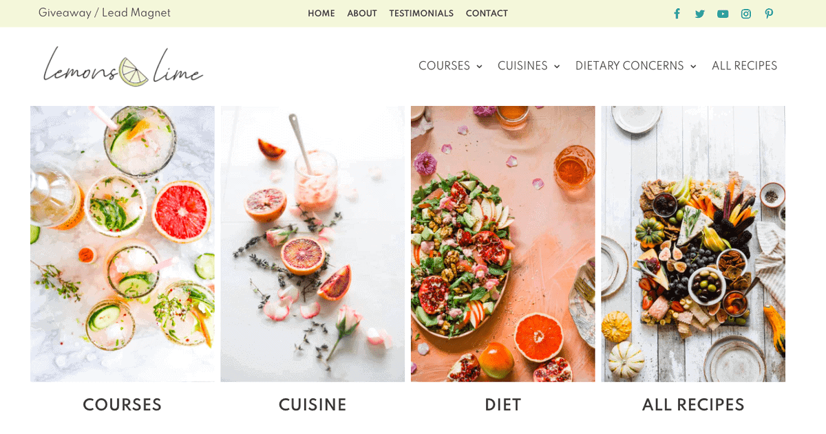 Lemons & Lime food blog theme from CakePOP