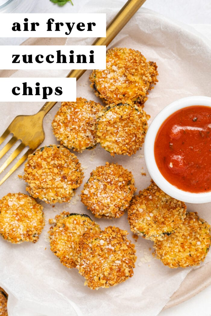 Pin graphic for air fryer zucchini chips