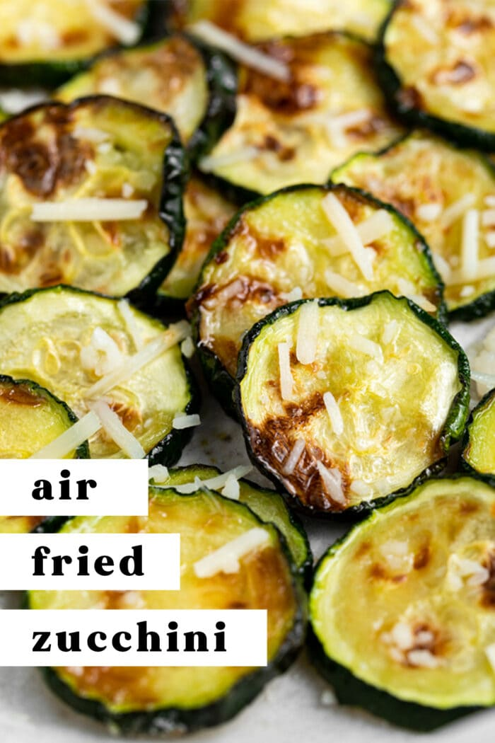 Pin graphic for air fried zucchini