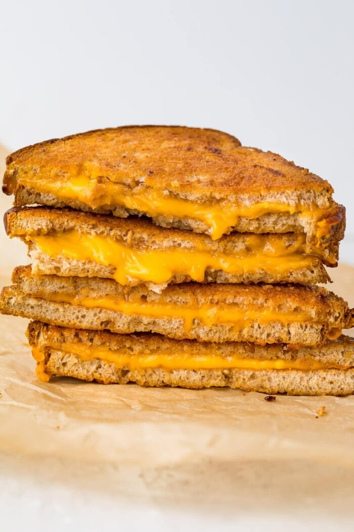 Stack of air fried grilled cheese sandwiches