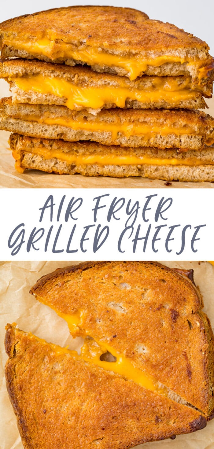 Pin graphic for air fryer grilled cheese