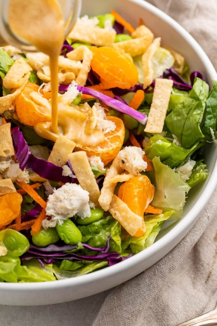 Salad with Asian salad dressing