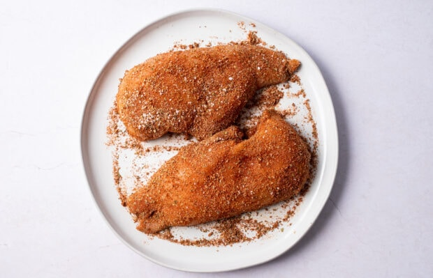 Chicken breasts coated in spice mixture