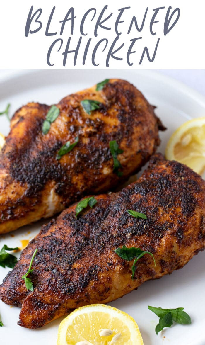 Pin graphic for blackened chicken