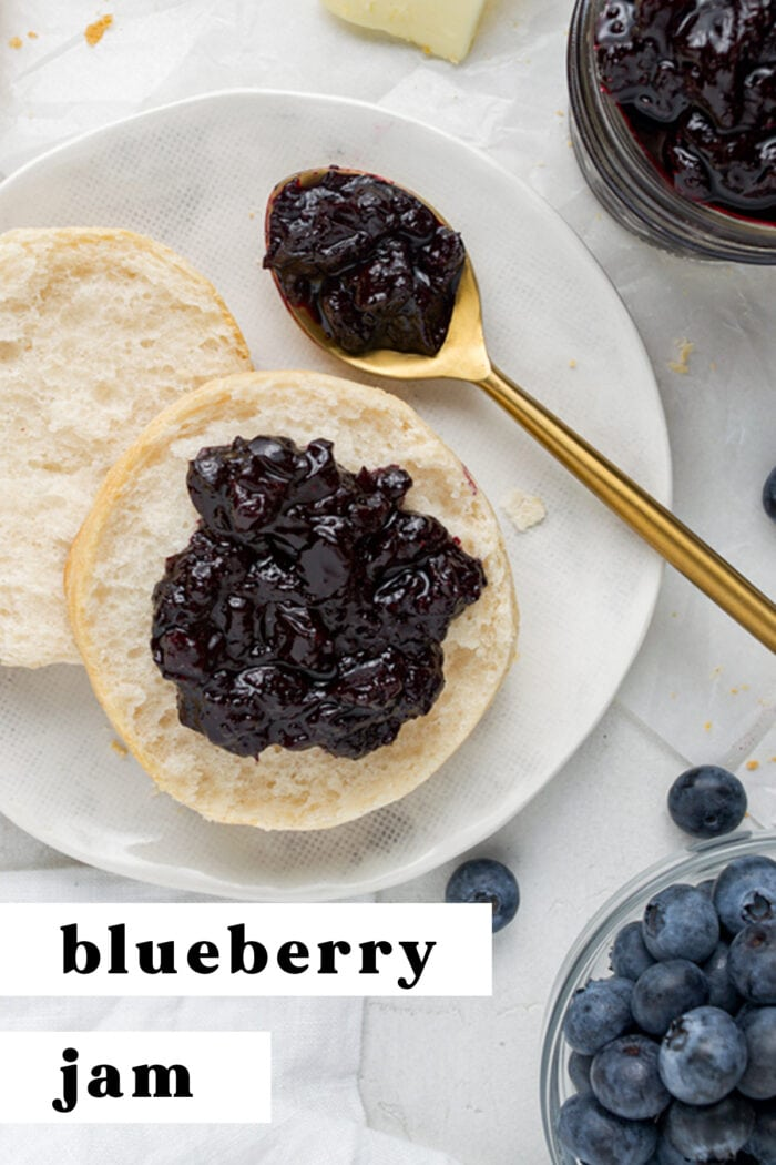 Pin graphic for blueberry jam