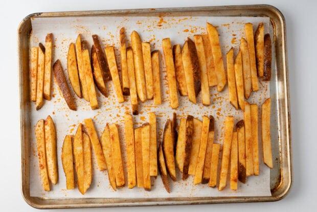 Fries on baking sheet