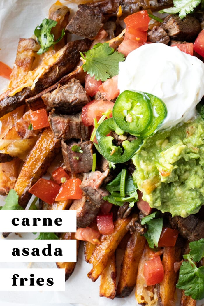 Pin graphic for carne asada fries