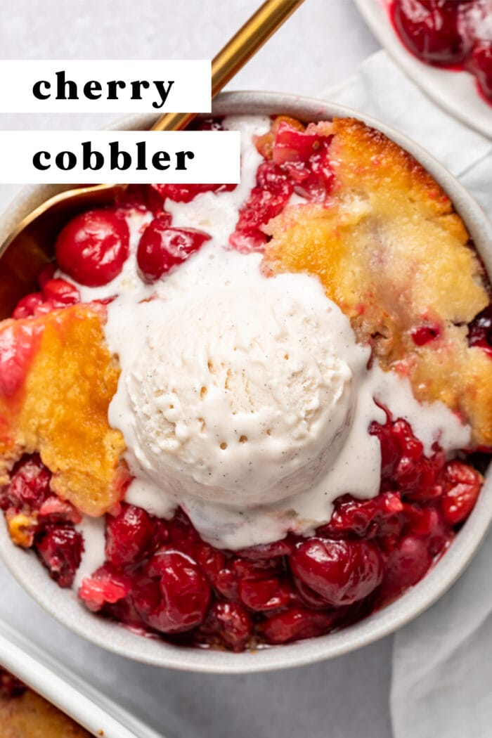 Pin graphic for cherry cobbler