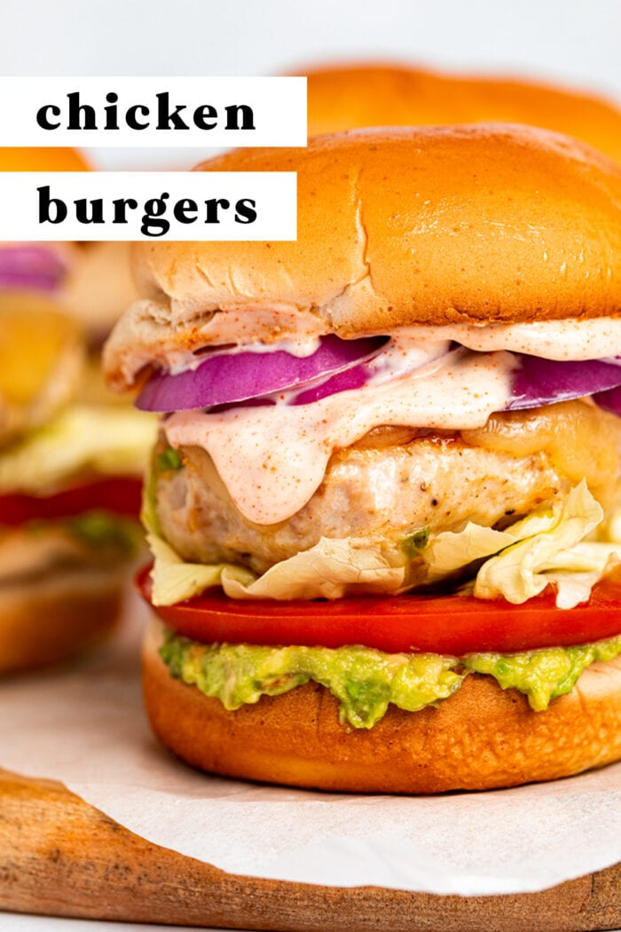 Pin graphic for chicken burgers with chipotle aioli