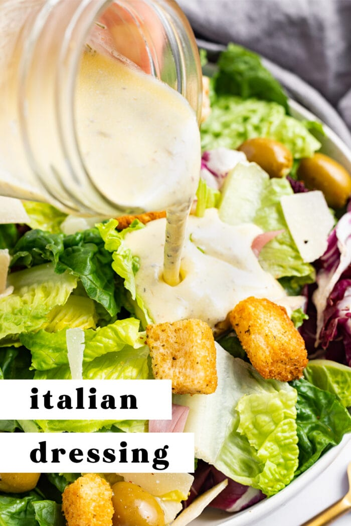 Pin graphic for creamy Italian dressing