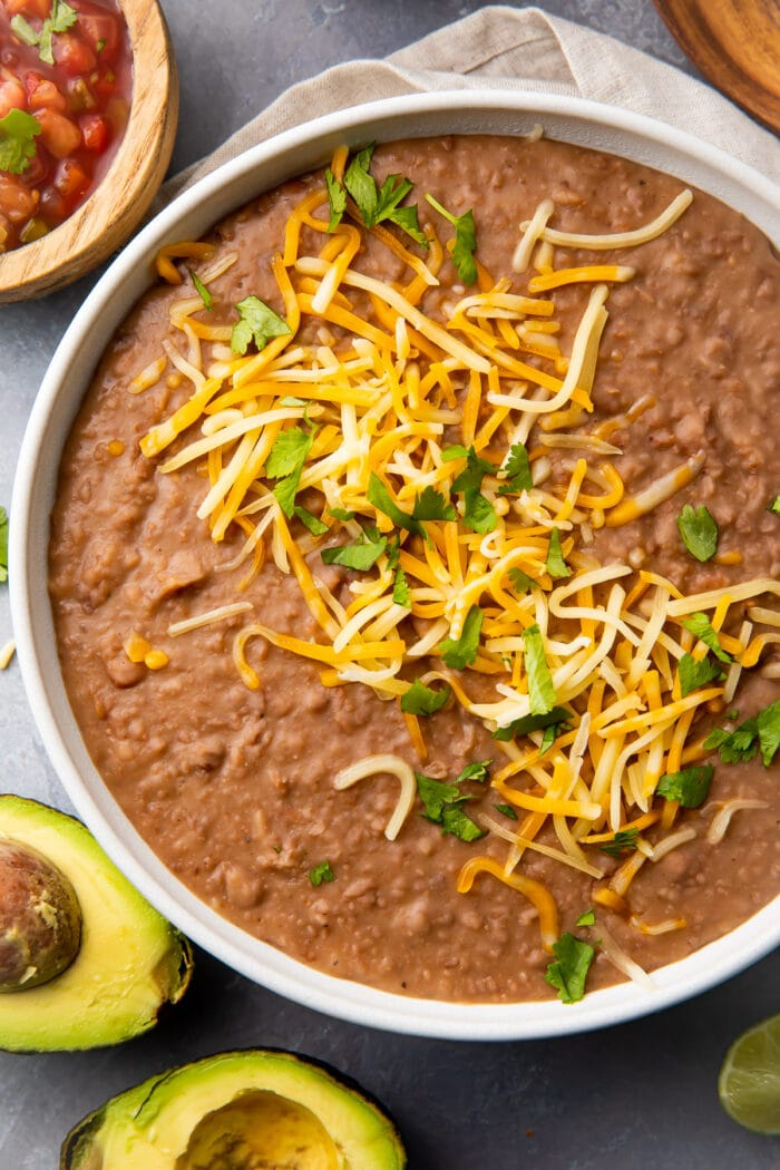 Instant Pot refried beans in a large bowl
